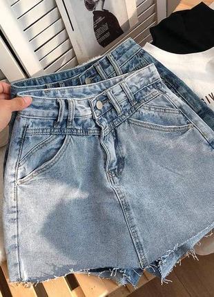 Женская юбка, короткая юбка, джинсовая юбка3 фото