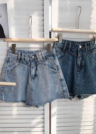 Женская юбка, короткая юбка, джинсовая юбка4 фото