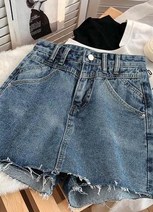 Женская юбка, короткая юбка, джинсовая юбка6 фото