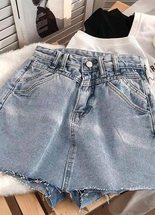 Женская юбка, короткая юбка, джинсовая юбка5 фото