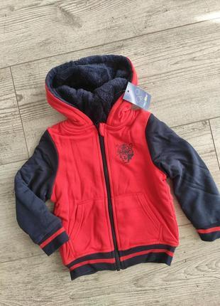 Толстовка на меху, куртка, худи  теплая кофта на молнии lupilu 86/92, 98/104, 110/116 см