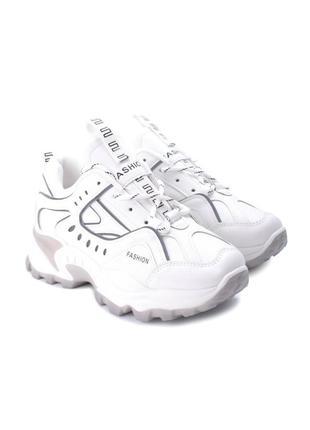 Женские белые кроссовки на шнуровке эко кожа3 фото