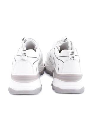 Женские белые кроссовки на шнуровке эко кожа4 фото