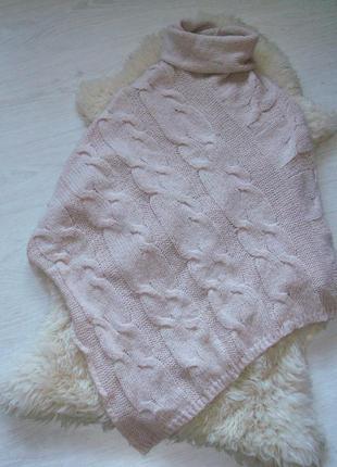 Шикарное вязаное пончо цвета пудры