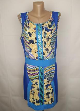 Платье стильное в орнамент трикотажное с паетками uk 14/42/l1 фото