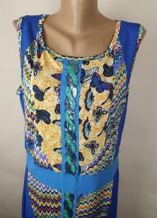 Платье стильное в орнамент трикотажное с паетками uk 14/42/l3 фото