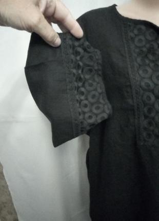 Стильная льняная блуза, туника с отделкой №9bp3 фото