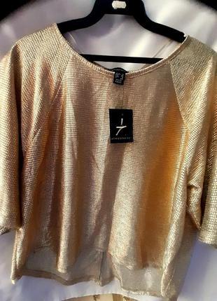 Женская блузка - реглан, с укороченным рукавом, золотого цвета atmosphere