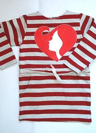 Теплое платье сердце на девочку 5-6 лет