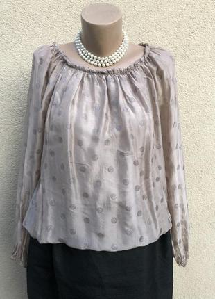 Шелковая блуза реглан,рубаха,в горохи,этно бохо стиль,италия