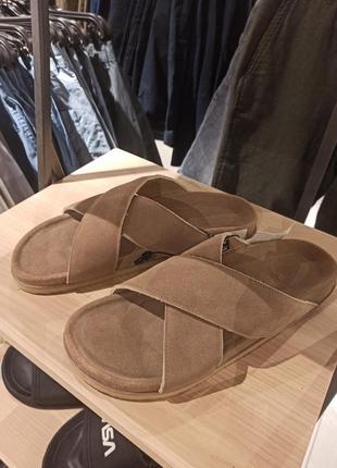 Супер стильные универсальные  мужские сандалии из натуральной кожи замша