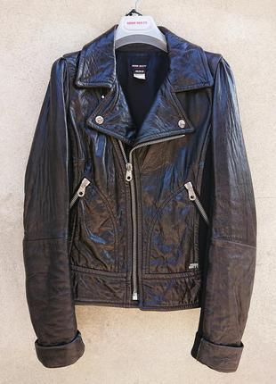 Женская кожаная куртка-косуха miss sixty, чёрная кожаная куртка