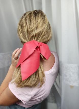 Бант для волосся з екошкіри резинка екокожа