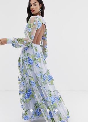 Платье макси с вышивкой и открытой спиной asos edition