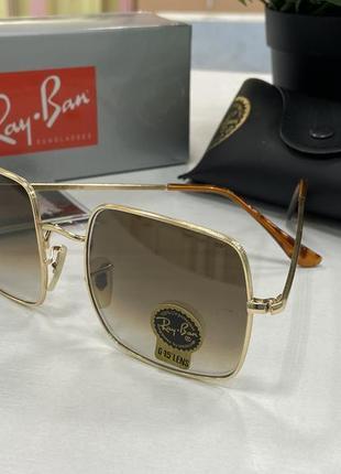 Солнцезащитные очки ray ban квадраты коричневые линзы стекло с градиентом