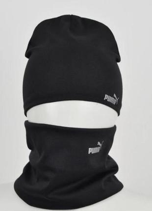 Комплект шапка и хомут, спортивный стиль, демисезонный комплект на осень, весну