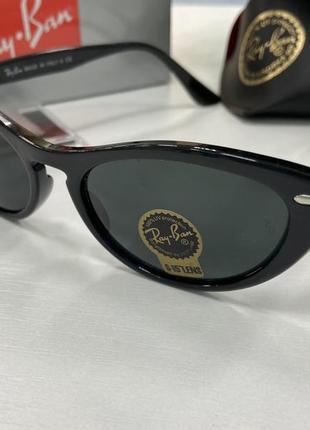 Женские солнцезащитные очки ray ban cat eye кошки чёрные линзы стекло в пластиковой оправе