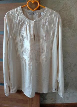 Оригинал! индия! шелковая блузка блуза бежевая