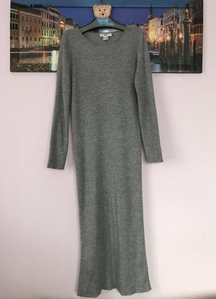 Шикарное платье в рубчик , очень теплое платье туника , вязаное платье