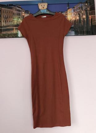 Крутое платье в рубчик , платье миди