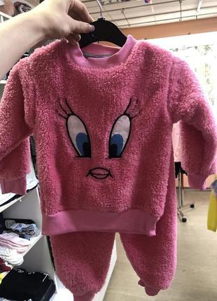 Пижама  тёплая розовая глазки, мягкая