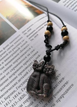 Кулон, подвеска котики, натуральный камень яшма