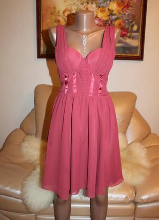 H&m розовое платье коктейльное алиновое размер s  h&m