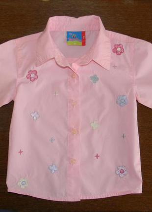 Красивая рубашка с вышивкой topolino 86-92р.