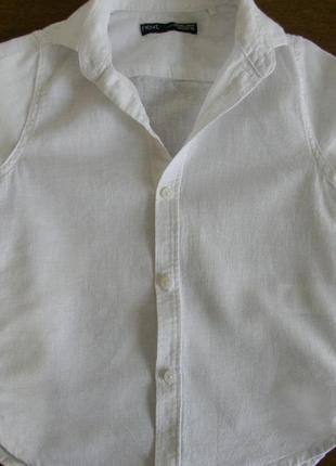 Льняная рубашка next для мальчика на 3 года