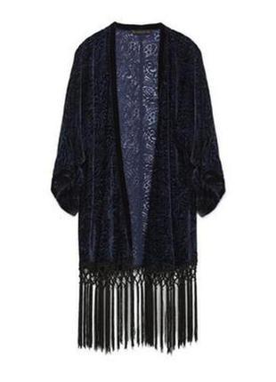 Zara накидка пляжная кимоно с бахромой