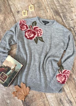 Новый красивый свитер с розами dorothy perkins s-m