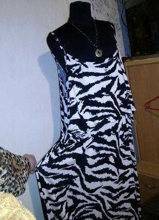 Трикотажное платье george в зебру с открытыми плечами и воланом, большой размер