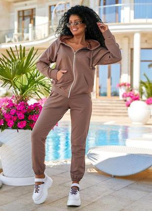 Женский спортивный костюм на молнии с капюшоном и джогерами msr818.1 мокко
