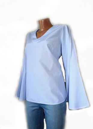 b7032205487 Стильная блуза рубашка коттон с расширенными рукавами в тонкую бело-голубую  полоску1 ...