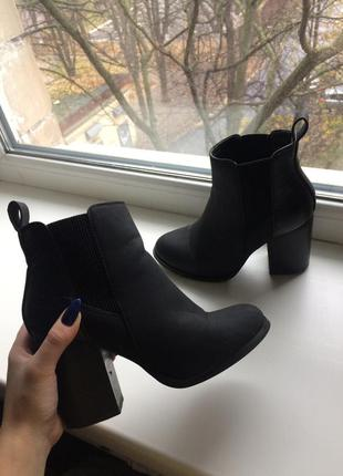 Ботильоны женские сапоги ботинки черные на каблуке zara