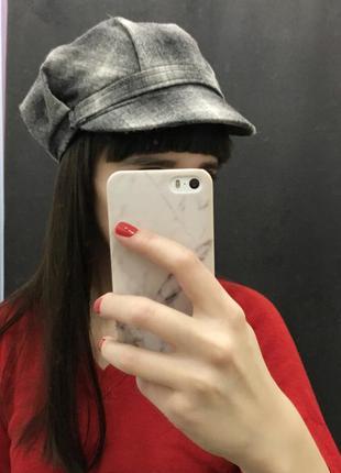 Кеппи кепка в клетку клетчатая шапка шерстяная берет фуражка