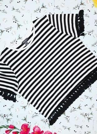 🎁1+1=3 стильная черно-белая женская футболка в полоску primark, размер 48 - 50