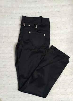 Атласные зимние черные штаны утепленные