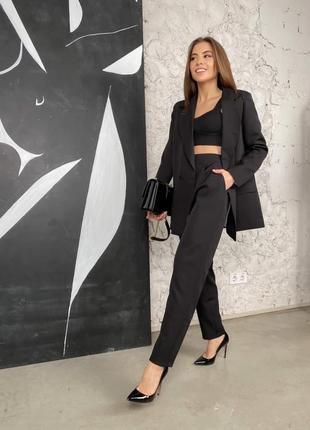 Чёрный брючный костюм (штаны бананы с пиджаком на подкладке)
