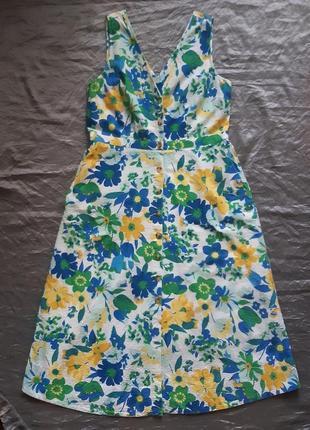 Платье-миди трапециевидной формы из  хлопка с цветочным принтом
