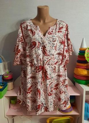 Натуральная индийская штапельная блуза от крутого бренда, 16 размер