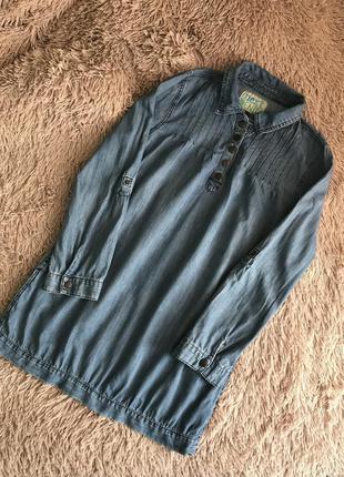 Стильной джинсовое next платье с кармашками туника рубашка