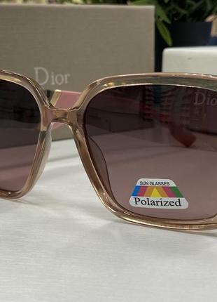 Женские солнцезащитные очки dior крупные массивные квадраты с широкими дужками и поляризацией жіночі окуляри