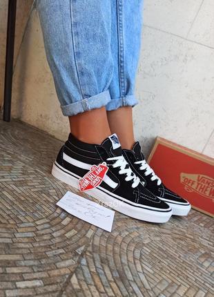 Высокие средние кеды кроссовки черные с белым ванс олд скул вансы