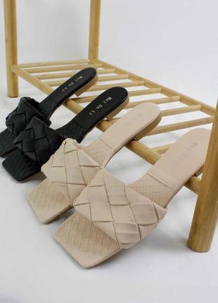 Плетение шлепанцы 🥥🥝 квадрат плетенка сабо мюли сланцы шльопки