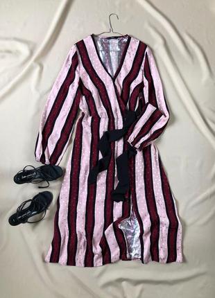 Сатиновое платье миди с длинными рукавами и разрезом