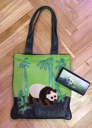Эксклюзивная кожаная дизайнерская сумка unique u панда