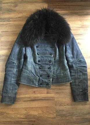 Куртка gizia с натуральным меховым воротником