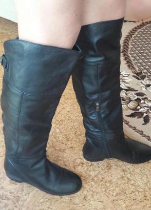 Теплые зимние сапоги ботфорты угги кожаные замшевые