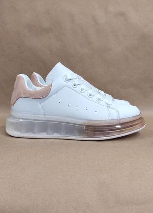 Кроссовки криперы белые с розовым прозрачная высокая подошва экокожа white/pink кросівки жіночі